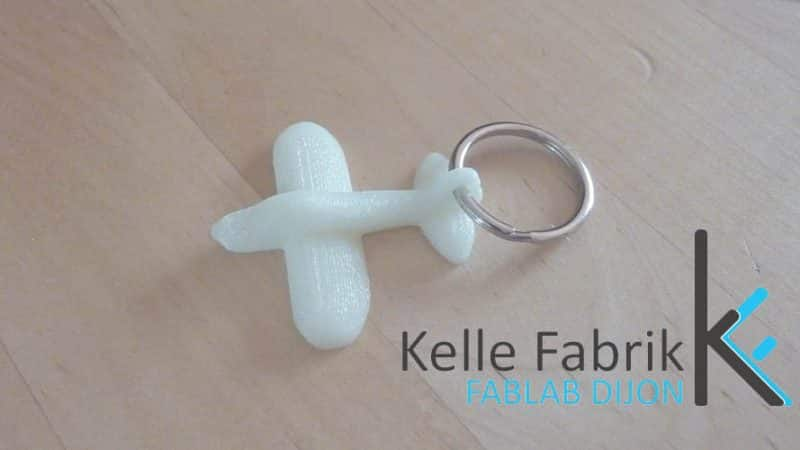 key ring printed in 3D at fablab kelle fabrik