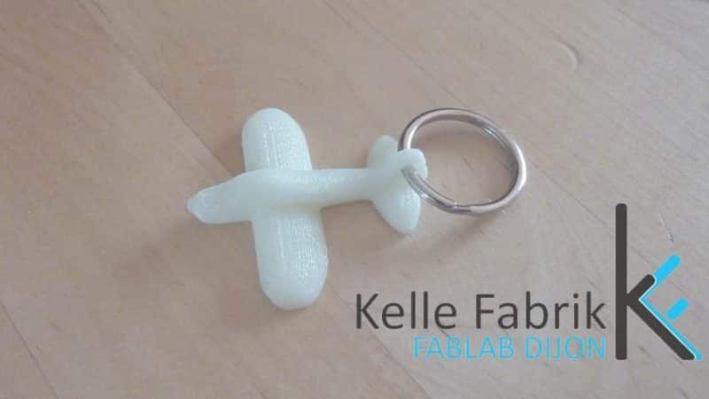 porte clef imprimé en 3D au fablab kelle fabrik
