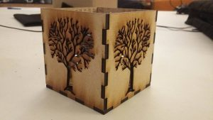 laser-cut wooden box at Fablab Kelle Fabrik