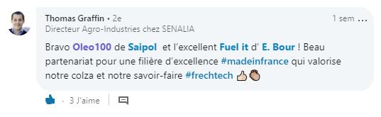 Témoignage Oléo100 commentaire Saipol