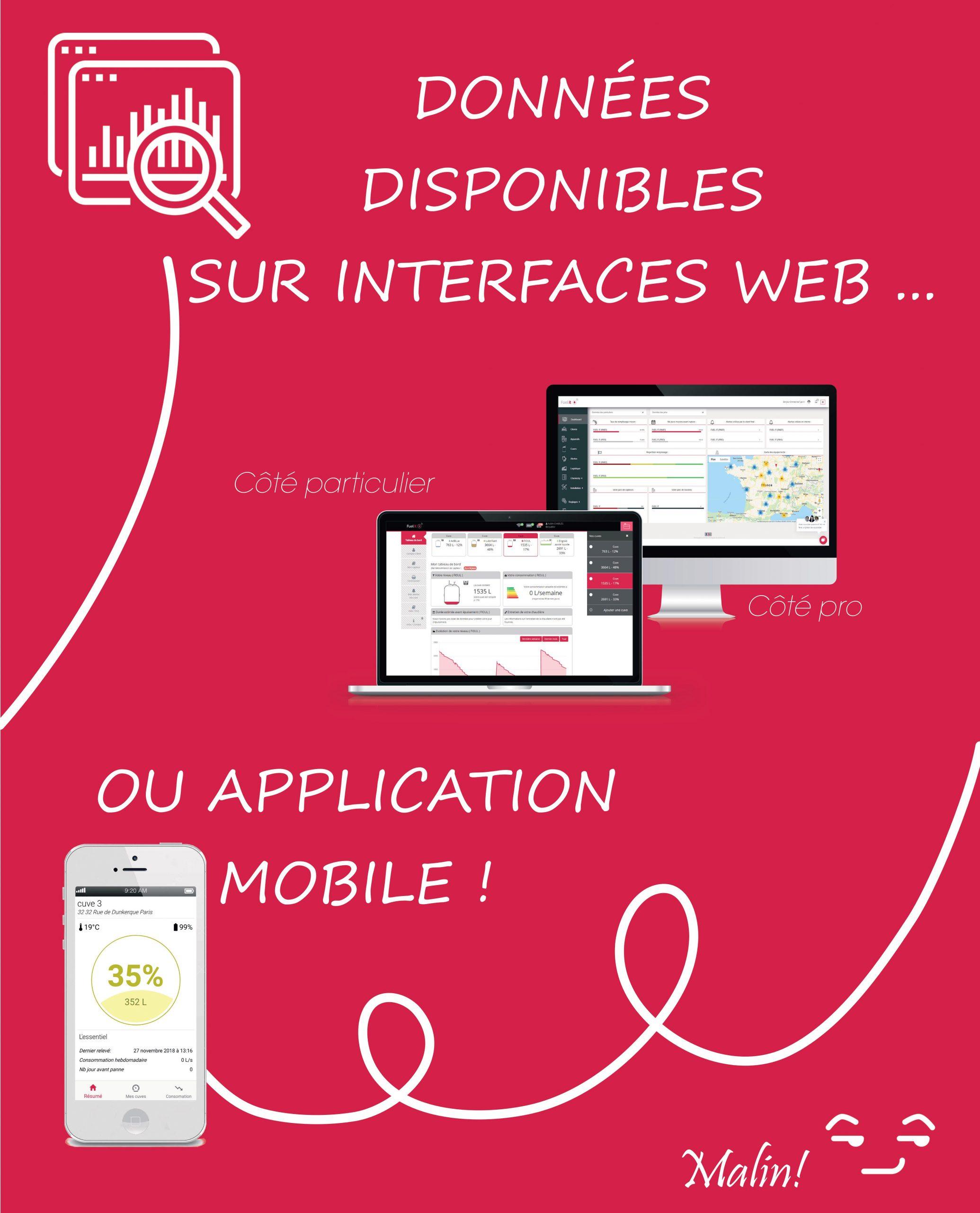 données disponibles sur interface web et appli mobile
